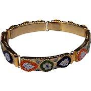 Vintage Gold Tone Metal Micro Mosaic Bracelet