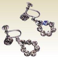 Vintage Clear Rhinestone Dangle Earrings