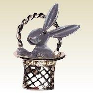 Vintage Silver Tone Metal Bunny Brooch