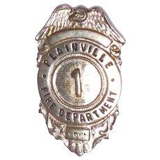 Vintage Silver Tone Metal Plainville Conn. Fire Department Badge # 1