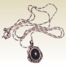 Vintage Sterling Silver Black Onyx Pendant Necklace