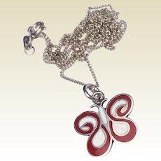 Vintage Sterling Silver Red & Black Enamel Butterfly Pendant Necklace