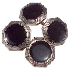 Vintage Krementz Gold Tone Metal Black Enamel Krementz Cuff Links
