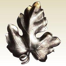 Vintage Sterling Silver Leaf Brooch