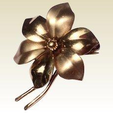 Vintage 12 K Gold Filled Flower Brooch