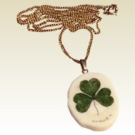 Vintage Gold Filled Chain & Shamrock Pendant Necklace