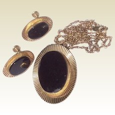 Vintage Van Dell 12 K Gold Filled Black Onyx Earrings & Pendant Necklace