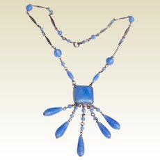 Art Deco Czech Sky Blue Art Glass Lavalier Necklace