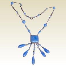 Art Deco Czech Sky Blue Art Glass Lavalier Necklace