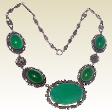 Art Deco Sterling Silver Green Agate Filigree Necklace