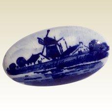Vintage Delft Blue Brooch