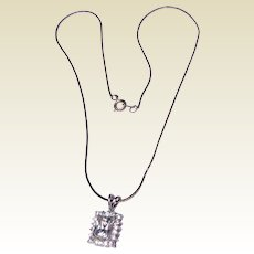 Vintage Sterling Silver Clear Faceted Rhinestone Pendant Necklace