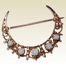 Antique Victorian 14 K Gold Natural Australian Opal Crescent Brooch