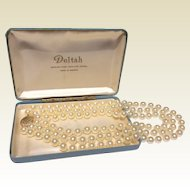 Vintage Deltah Simulated Triple Strand Pearls In Original Box