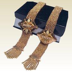 Rare Pair Victorian Gold Filled Mesh Bridal Wedding Slide Tassel Bracelets
