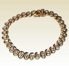 Vintage Gold Gilt Over Sterling Silver Flexible Rhinestone Bracelet