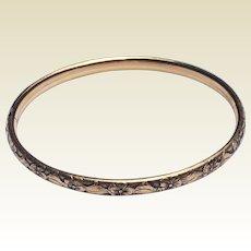 Vintage 12 K Gold Filled Repousse Hinged Bangle Bracelet