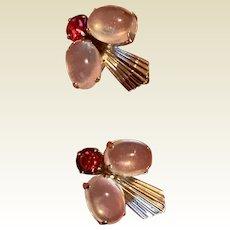 Vintage Van Dell Sterling Silver Genuine Moonstone Ruby Red Rhinestone Fly Earrings