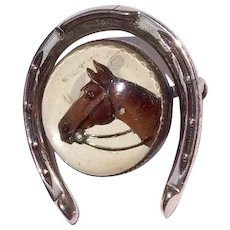 Vintage Beau Sterling Silver Essex Crystal Horse Head Horse Shoe Brooch