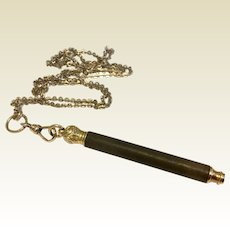 Antique Gold Filled Mechanical Telescoping Chatelaine Pencil & Gold Filled Watch Chain Necklace