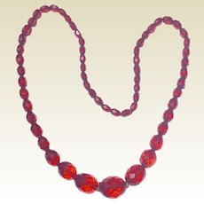 Art Deco Cherry Amber Bakelite Faceted Bead Necklace