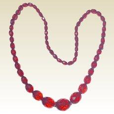 Art Deco Cherry Amber Bakelite Faceted Bead Necklace
