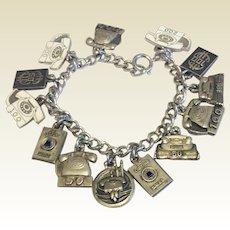 Wonderful Bell Telephone Worker Service Awards Sterling Silver Charm Bracelet
