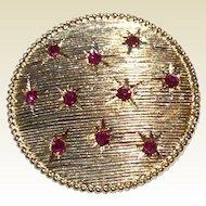 Vintage Gold Tone Metal Rhinestone Large Brooch