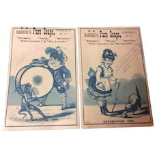 Two Victorian Trade Cards For P. S. Barber's Pure Soaps