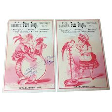 Set Of Two Victorian Trade Cards For P. s. Barber's Pure Soaps