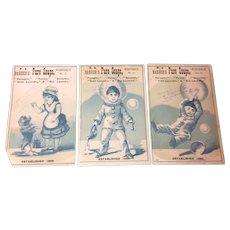 Set Of Three Victorian Trade Cards For P. S. Barber's Pure Soap's