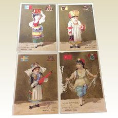 Victorian Set Of Four Trade Cards For Law Office Of Cotes & Elliott Memphis, Tenn.