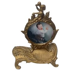 Victorian Cherub Gilt Cast Iron Pocket Watch Holder Picture Frame