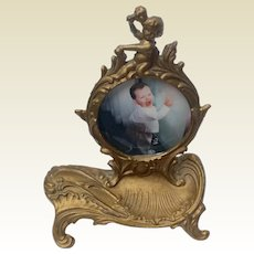 Victorian Cherub Gilt Iron Pocket Watch Holder Picture Frame