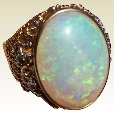 Vintage 14 K Gold 10 Carat Australian Opal Domed Top Ring
