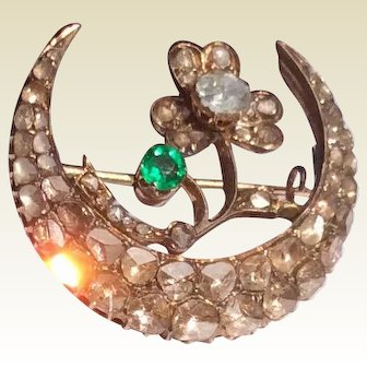 Fabulous Georgian 18 K Emerald & Diamond Crescent Moon Shamrock Brooch