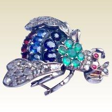 Fabulous Georgian Sterling Silver Diamond Sapphire Emerald Garnet Ruby Bee Brooch