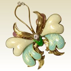 Tiffany & Co. Vintage 18 K Gold Diamond Enameled Butterfly Brooch