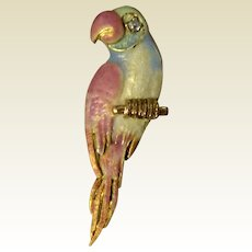 Vintage 14 K Gold Diamond Enameled Parrot Brooch