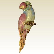 Vintage 14 K Gold Diamond Enameled Parrot Brooch