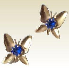 Vintage Gold Tone Metal Sapphire Blue Butterfly Earrings