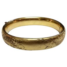 Vintage Gold Filled Carl Art Satin Finish Hand Engraved Bangle Bracelet