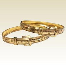 Wonderful Antique Victorian Pair Gold Filled Buckle Bangle Wedding Bracelets