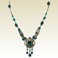 Art Deco Czech Brass Dark Green Faceted Glass Bead & Pearl Necklace With Dangles