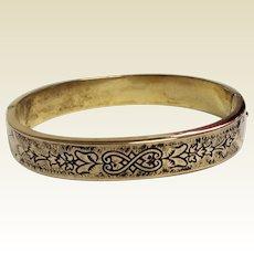 Vintage Gold Filled Black Enameled Hinged Bangle Bracelet