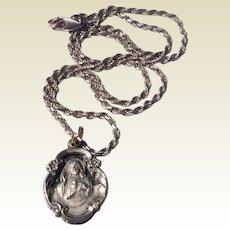 Vintage Sterling Silver Jesus & His Sacred Heart Pendant Necklace