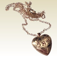 Vintage 14 K Gold Filled Double Photo Heart Locket & Chain