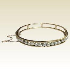 Vintage Gold Filled Cultured Pearl Bangle Bracelet
