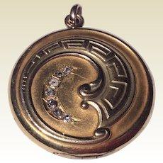 Vintage Art Nouveau Gold Filled Paste Locket