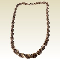 Vintage 12 K Yellow Gold Filled Rope Chain Necklace